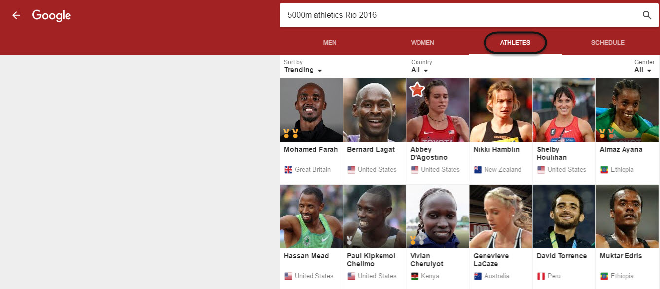 Olympic Athletes on Special Google Knowledge Panel Feature
