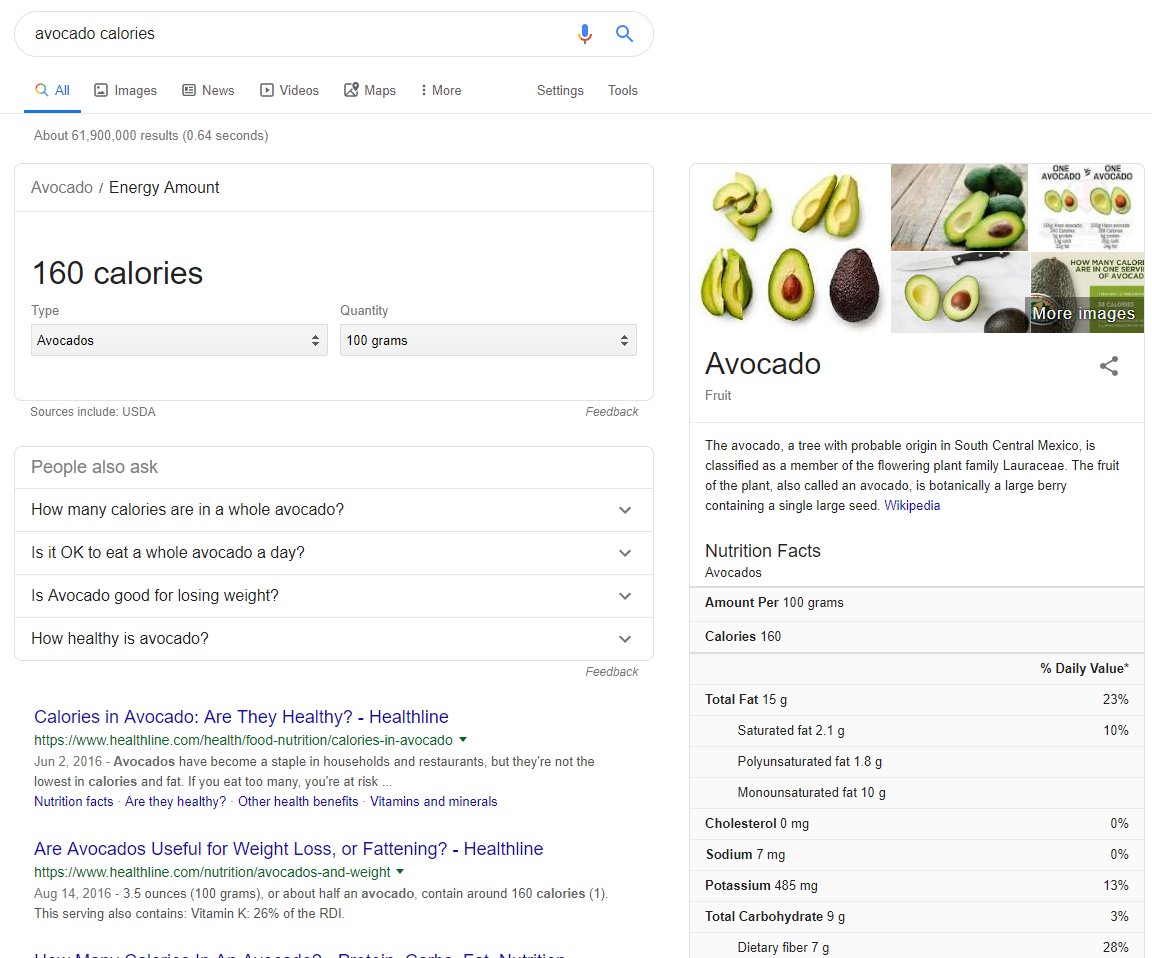 Avocado Health Info on SERP