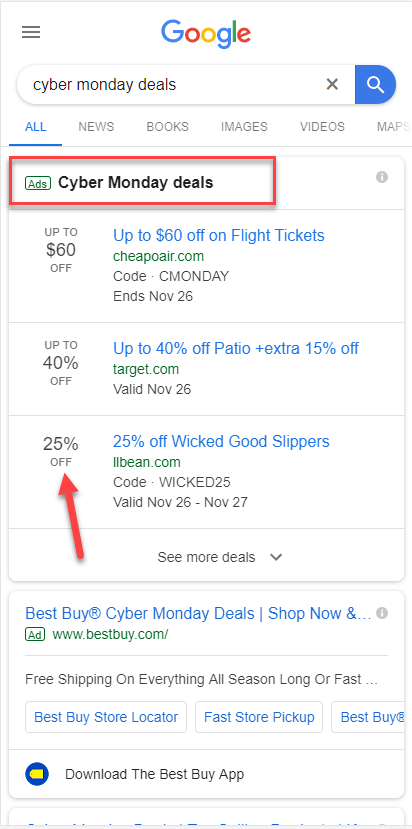 Cyber Monday Ad Extension