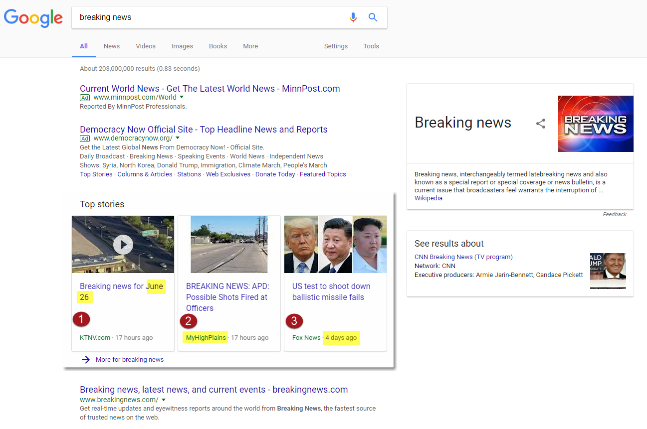 Breaking News Results on Google