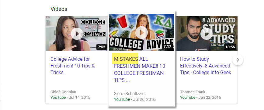 College Tips Video Carousel