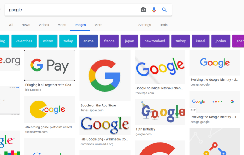 Google Image Search Desktop with Mobile Format