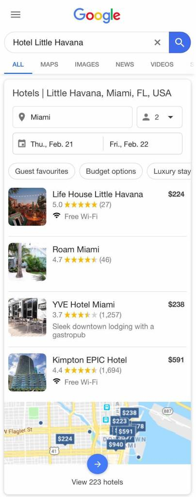 Mobile Hotel Local Pack - 4 Results