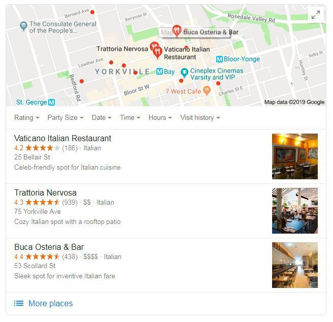 Reserve with Google Local Pack Filter