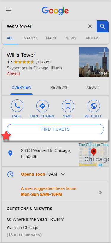 Google Booking - Sears Tower