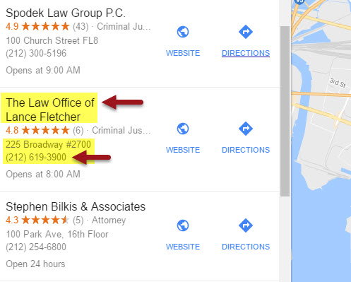 Google Local Finder example of duplicate business listings