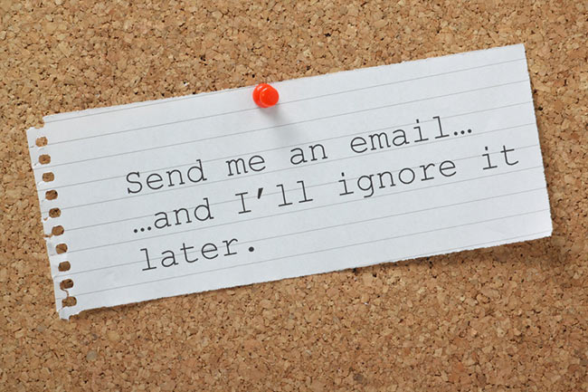note about sending email