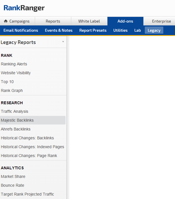 Legacy reports and features