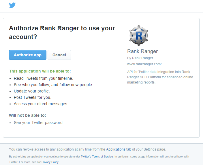 Authorize Rank Ranger Twitter App