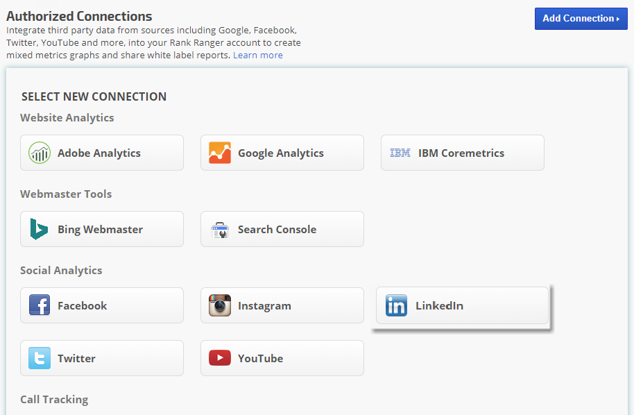 Authorized Connections LinkedIn Analytics Integration