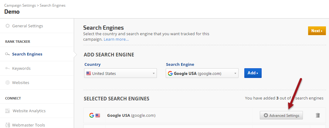 Search Engine Advanced Settings