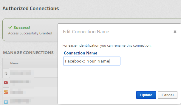 Name your Facebook Connection