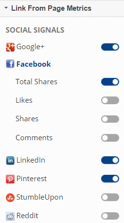 Select Link Source Page Metrics - Social Signals