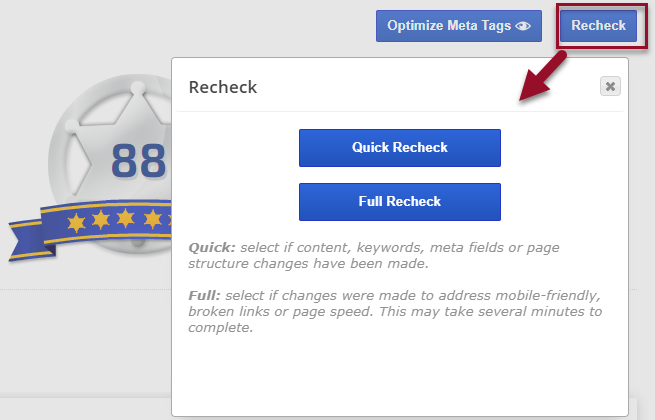 Recheck the On-Page Optimization for a URL and Keyword