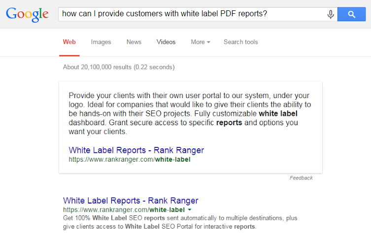 Google Answer box results noted in rank tracking report