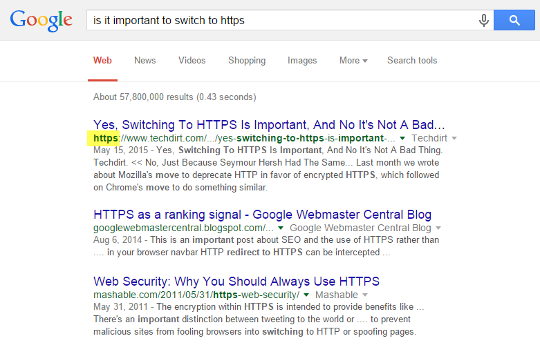 HTTPS results in rank tracking report