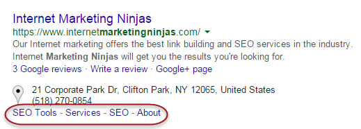 Site links in Google search result