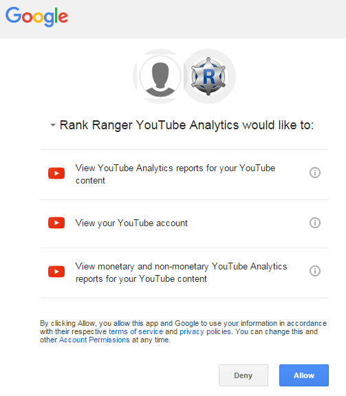 Authorize Rank Ranger YouTube App