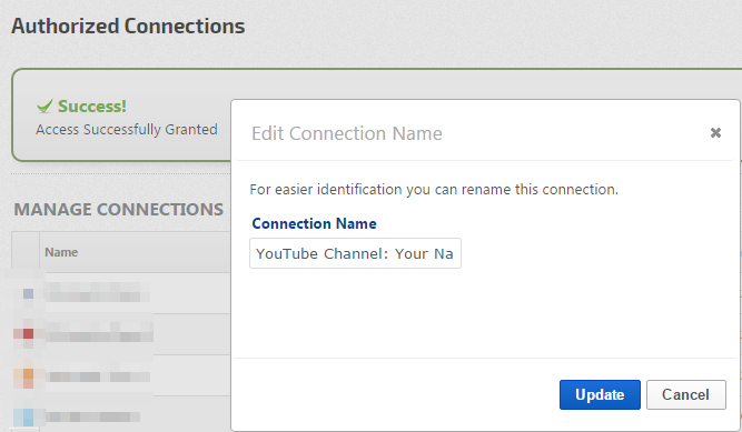 Name your YouTube Connection
