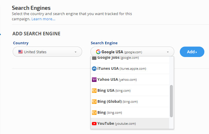 YouTube search engine for app tracking