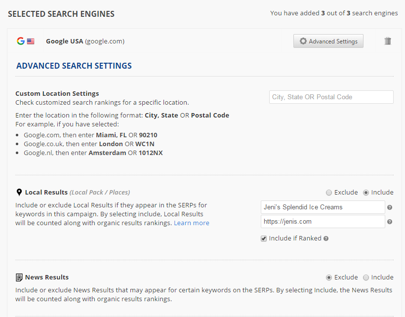 Advanced Search Settings - Local Results