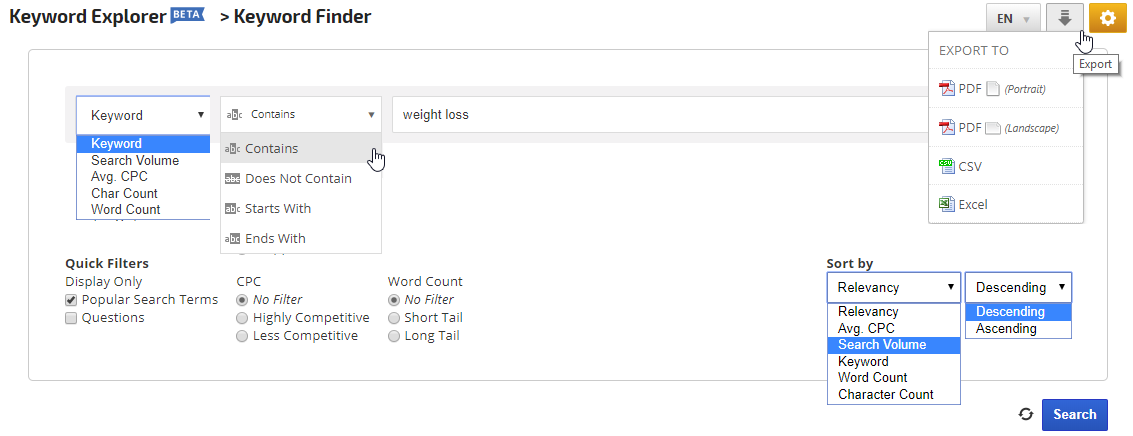 Keyword Finder Filters