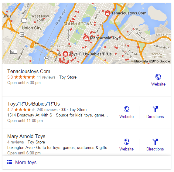 Example of Google Local Pack Results