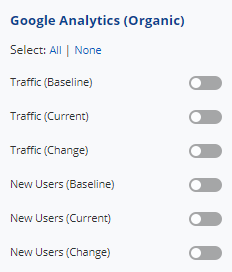 Select Google Analytics Organic Traffic data