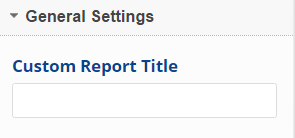 General settings custom report title