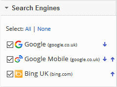 select the search engines for comparison