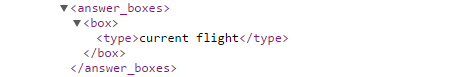 API results for Current Flight Answer Box