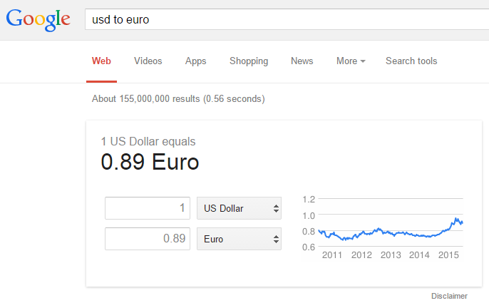 SERP Feature Answer Box currency