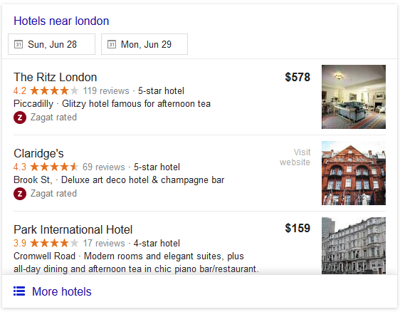 Google Local Pack for London Hotels