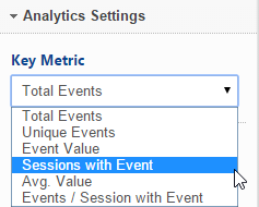 Google Analytics key metric options
