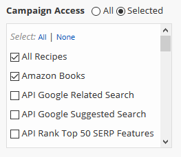 User access to campaigns