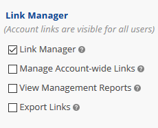 User access to link manager