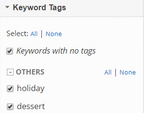 select keyword tag filters