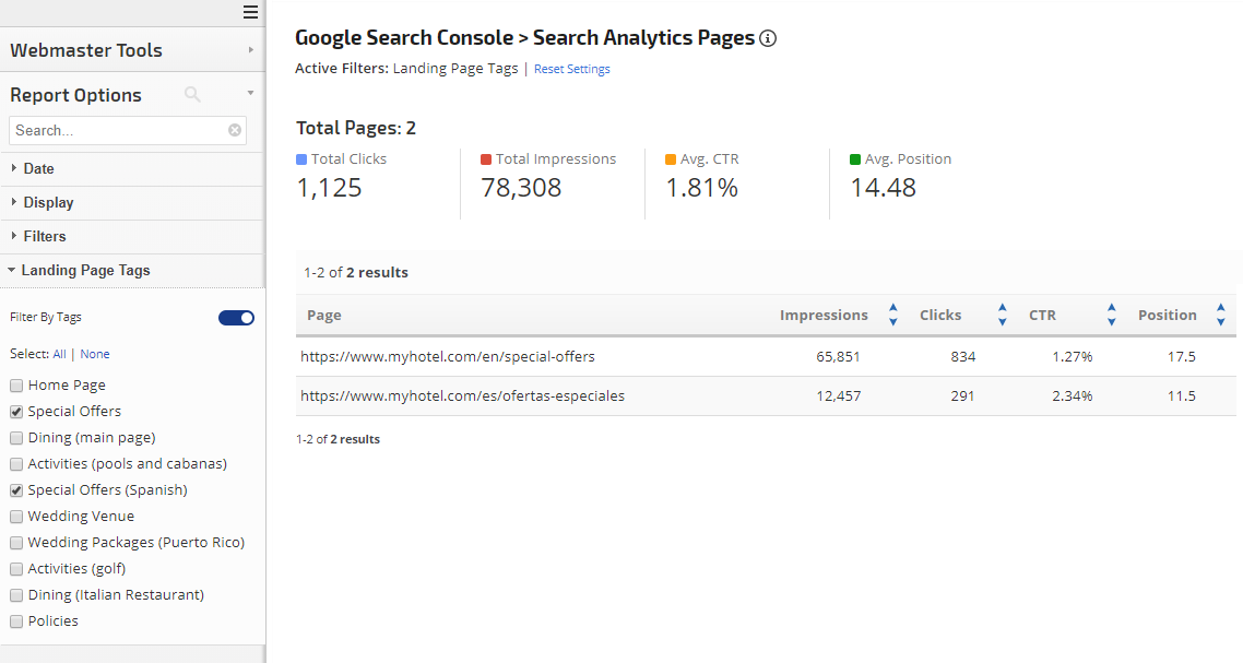 Search Console Landing Page tag filter