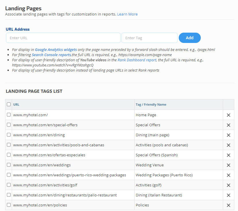 Search Console Landing Page tags