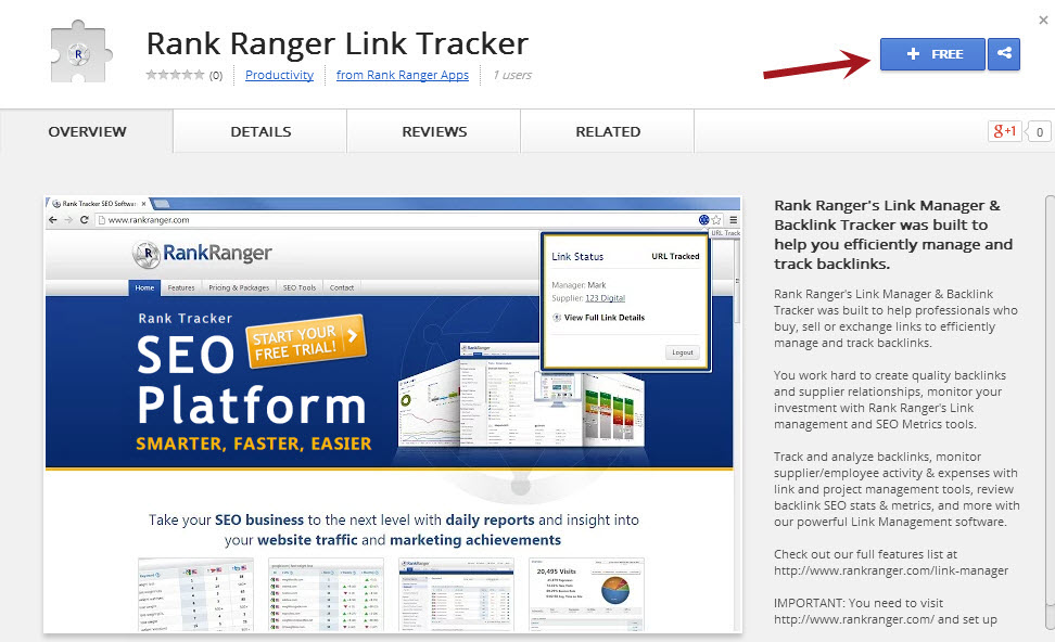 Locate Rank Ranger Link Tracker in Chrome web store