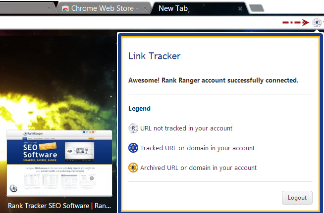 Successful installation of Rank Ranger Link Tracker Chrome Extension