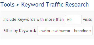 Enter Keyword Filter