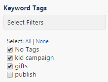filter results by keyword tag
