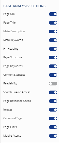 On-Page Optimization Analysis Section Settings